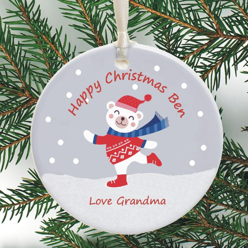 Cute Personalised Christmas Ornament Snowy Bear Design Personalized Ceramic Christmas Tree Bauble Holiday Decoration